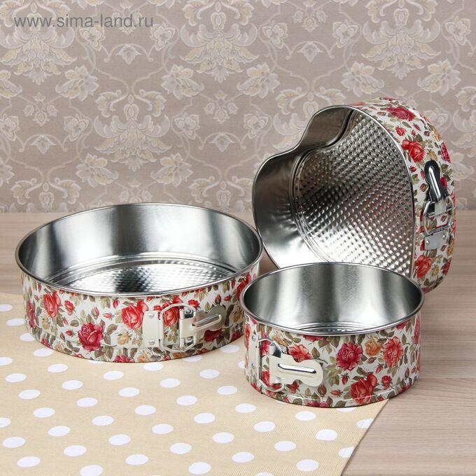 Набор форм для выпечки разъёмных «Розарий», 3 шт: 17 см, 21 см, 24 см