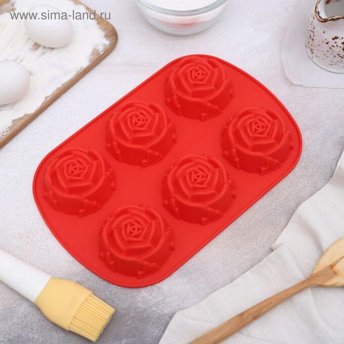 Форма для выпечки Доляна «Роза», 26*17,5 см, 6 ячеек (d=5,8 см), цвет МИКС