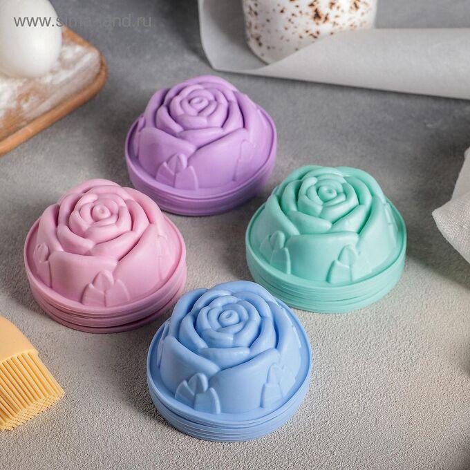 Набор форм для выпечки Доляна «Роза», 8*3 см, 6 шт, цвет МИКС