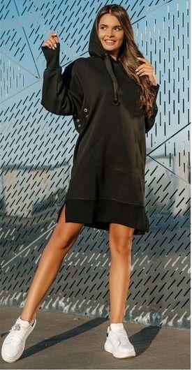 """Платье Черный Платье с длинным рукавом, карман """"кенгуру"""", капюшон.  Материал COTTON футерХЛОПОК 92% ЭЛАСТАН 8%"""