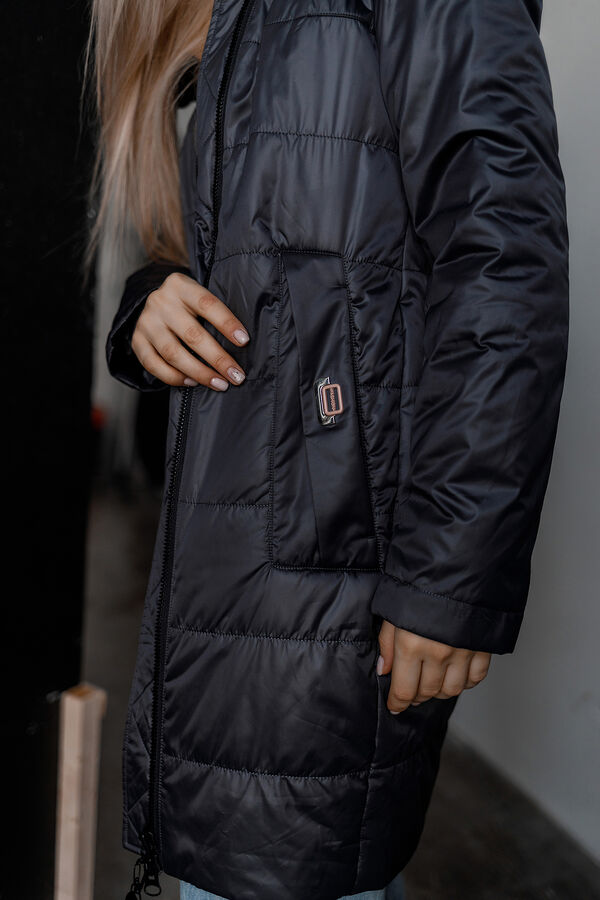 "Куртка деми цвет ""темно-синий/розовый"""