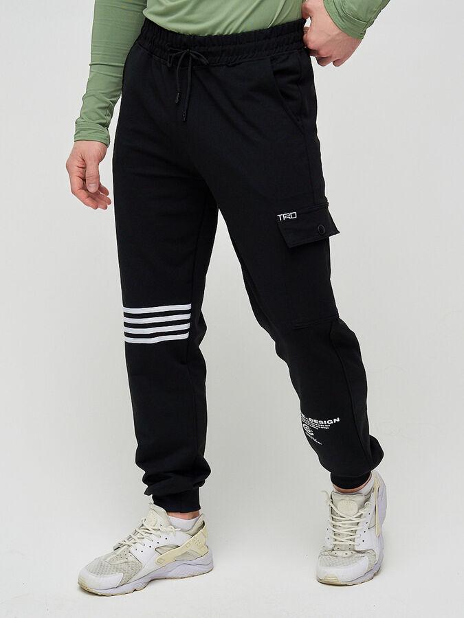 Трикотажные брюки мужские черного цвета 2269Ch