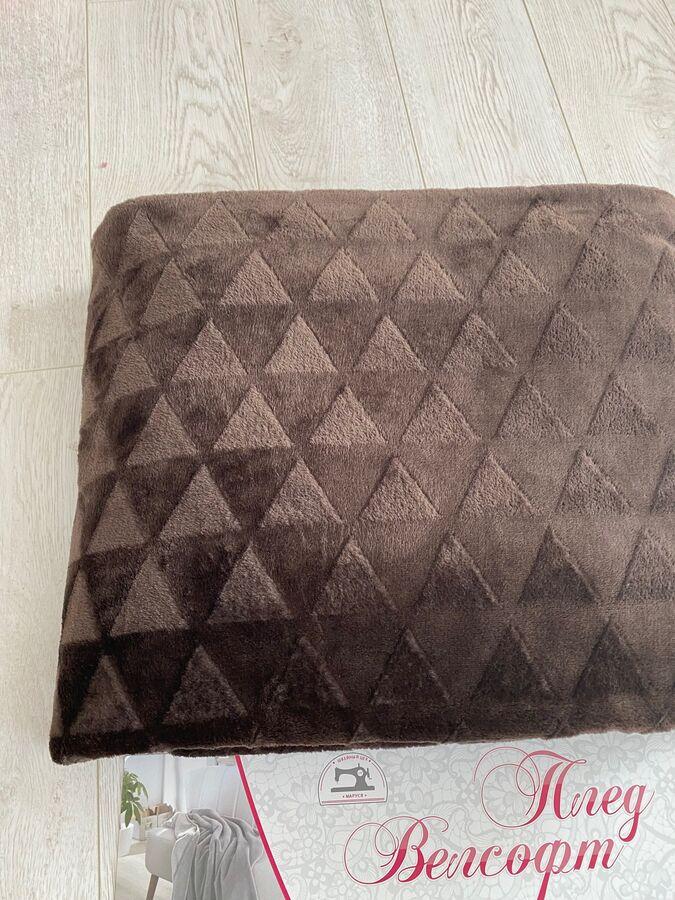 Плед из Велсофта Евро Треугольник коричневый 200*220 см