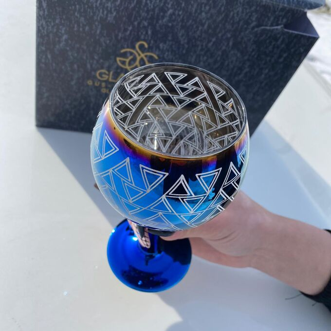 "Набор фужеров Glasstar ""Бистро"" Лавандовый аметист Треугольники / 6 шт. 290 мл"