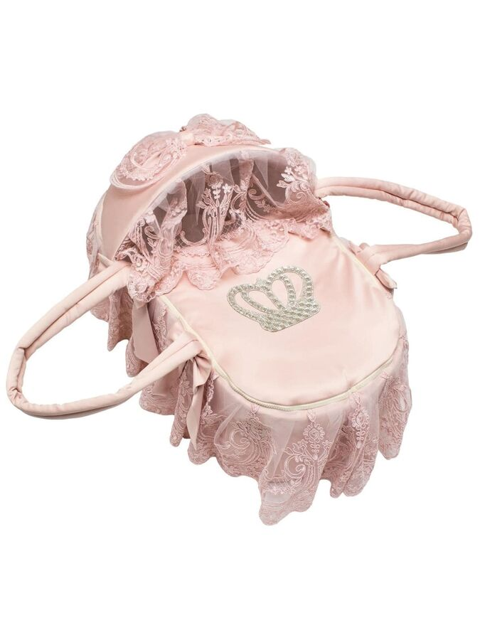 """Люлька-переноска для новорожденного """"Роскошь с бантиками"""" (розовая Русский Сатин с розовым кружевом, стразами, бантом)"""