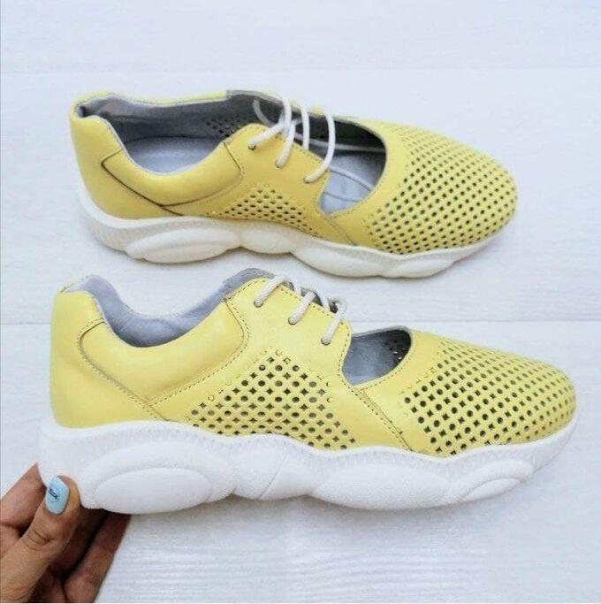 Кожаные кроссовки TED DREAM лимонный-1044