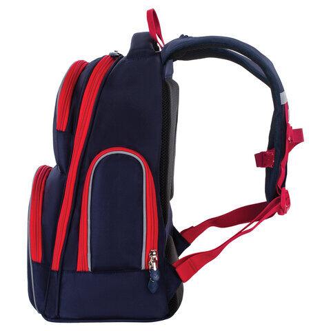 Рюкзак BRAUBERG CLASSIC, легкий каркас, премиум материал, Lion, синий, 37х32х21 см, 228829