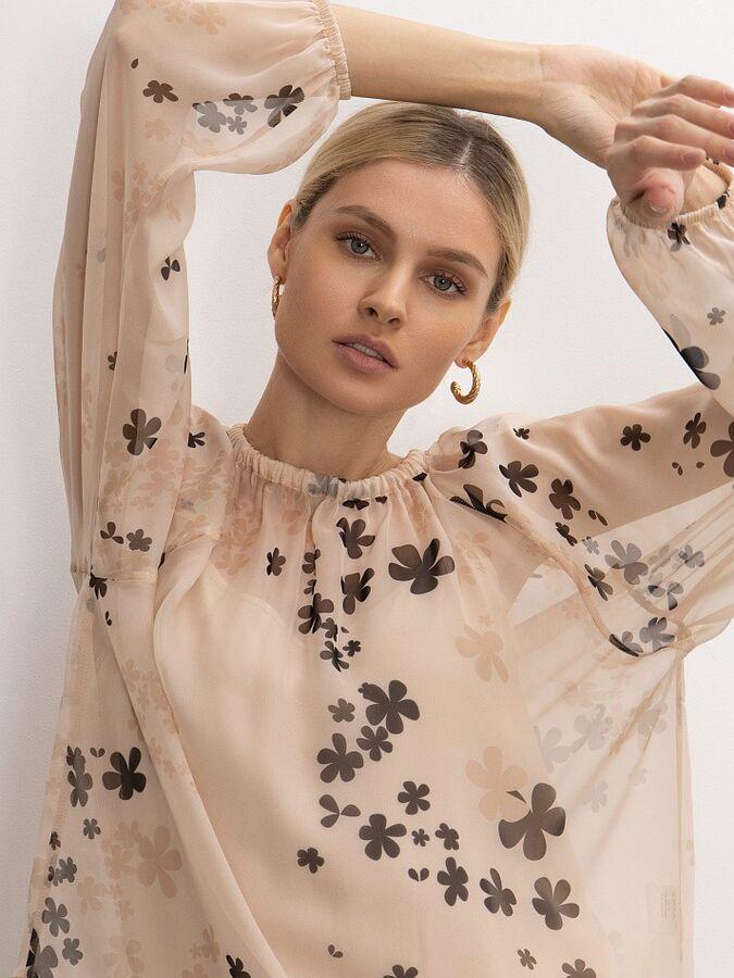 Шифоновая блузка с принтом B2626/catio в Хабаровске