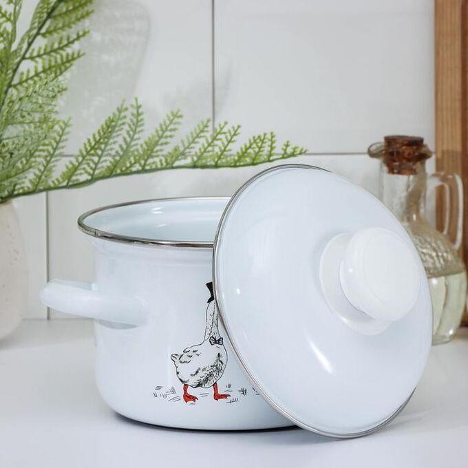 Кастрюля «Гуси», 1,5 л, металлическая крышка, цвет белый