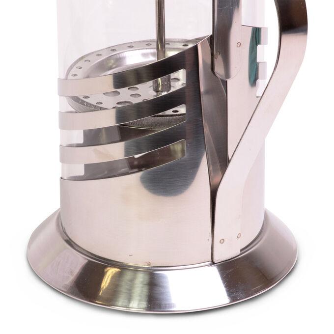 Френчпресс • Материал корпуса: нержавеющая сталь.  • Материал колбы: термостойкое стекло.  • Диаметр колбы: 10см.  • Материал ручки: нержавеющая сталь.  • Объем: 1000мл.  • Высота: 25см.  • Пресс-филь