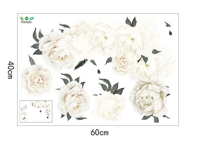 Наклейка многоразовая интерьерная «Белые пионы» 57*81 см (1535)