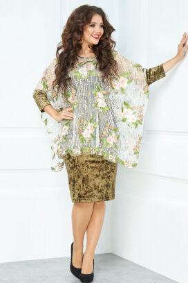 Оливковый Примечание: замеры длин соответствуют размеру 56, рост 164 см. Длина платья: 100 см. Длина накидки: 70 см. Длина рукава платья: нет. Длина рукава накидки: 37 см. Подкладка платья: нет. Подкл