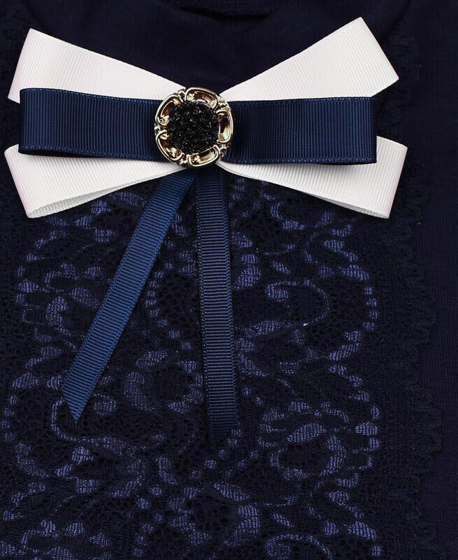 Синяя школьная водолазка (блузка) для девочки Цвет: синий