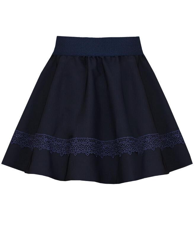 Школьная синяя юбка с кружевом для девочки Цвет: синий