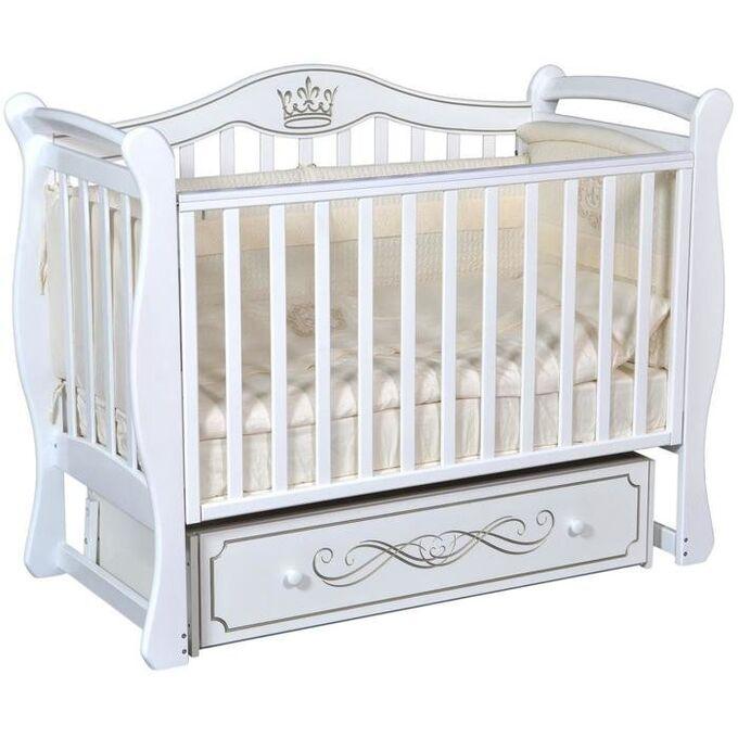 """Детская кровать """"Grace""""(1) автостенка,ящик,универс. маятник (белый) 70461"""