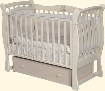 """Детская кровать """"Viola""""(3) автостенка,ящик,универс. маятник (слоновая кость) 72362"""