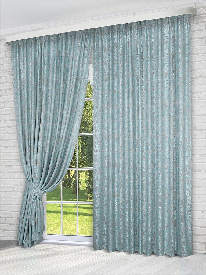 Комплект штор  бирюзового  оттенка: 2 шторы по 200 см