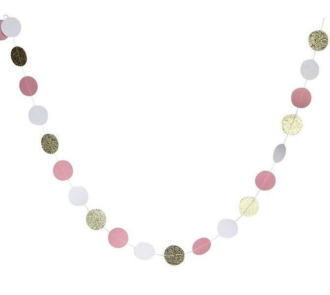 Гирлянда Круги блеск 280 см розовый/золото