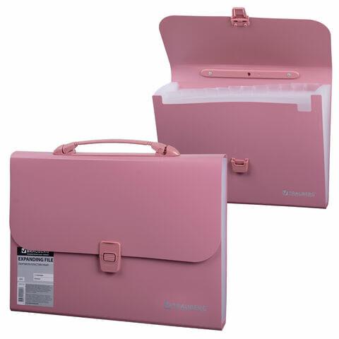 Папка-портфель пластиковая BRAUBERG А4 (327х254х30 мм), 13 отделений, розовая, 221441