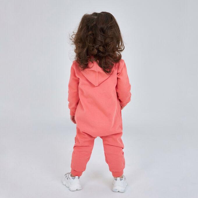 Комбинезон с капюшоном (стопа) для девочки, персиковый