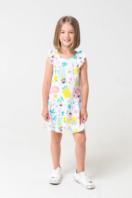 КР 5672 к277 Платье для девочки (белый-пляжный отдых)