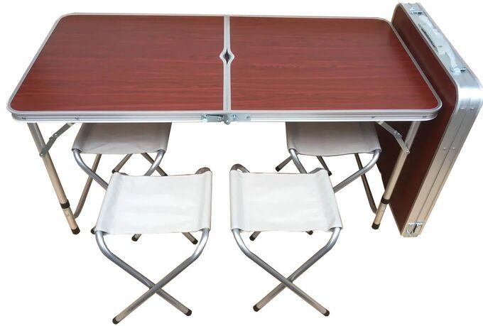 Складной туристический стол и 4 стула Folding Table / 120 х 60 х 70 см