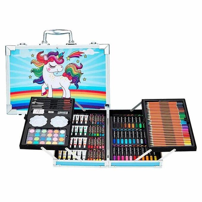 Набор для рисования Единорог в алюминиевом чемоданчике, 145 предметов