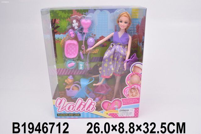 Кукла 042-3YT беременная с дочкой и аксесс. в кор.
