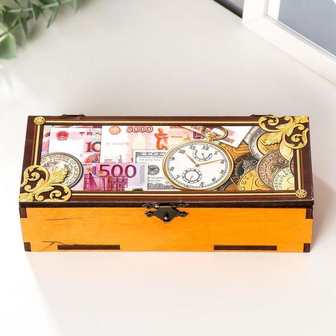 """Шкатулка """"Часы"""" 18,5х7,5х4,5 см МИКС"""