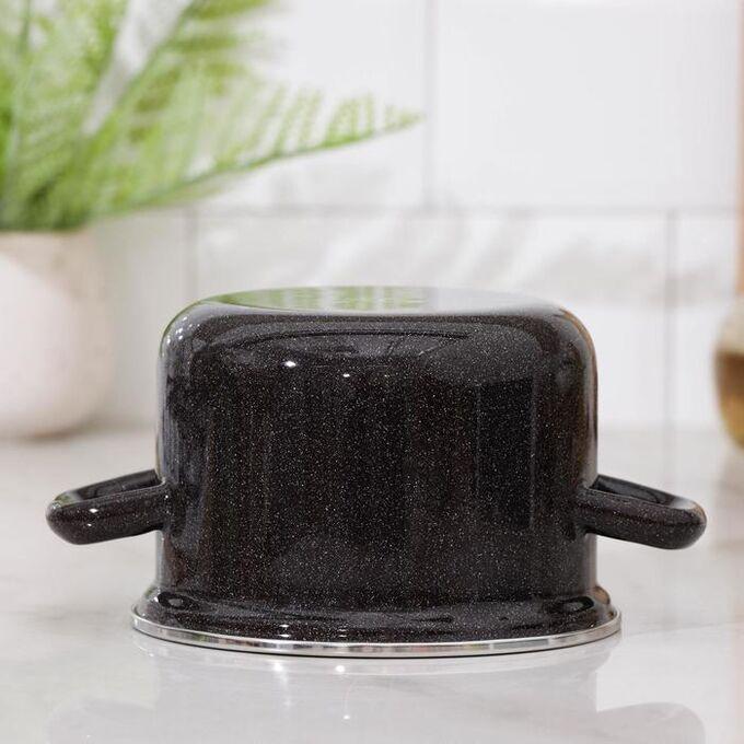 Кастрюля, 1,5 л, металлическая крышка, цвет чёрный