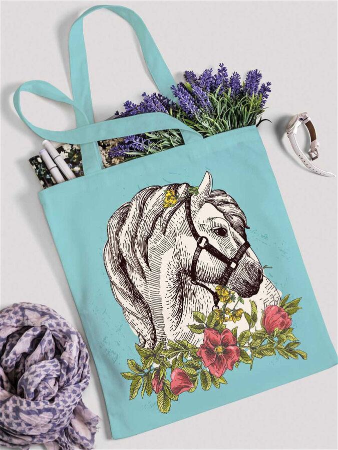 """JoyArty /  Сумка шоппер """"Лошадь, природа и коты"""", ткань под лен, 42x38x7 см"""