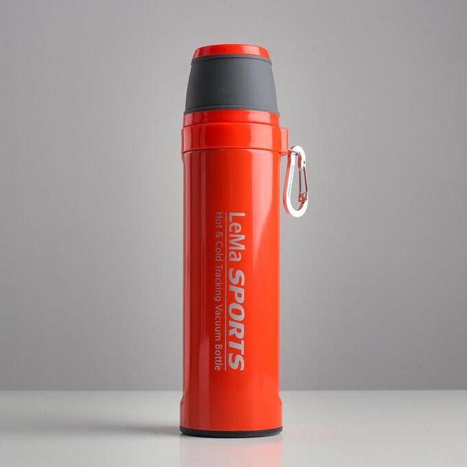 """Термос """"Спорт"""", 500 мл, сохраняет тепло 10 ч,  6.7х25.8 см, красный 5113019"""