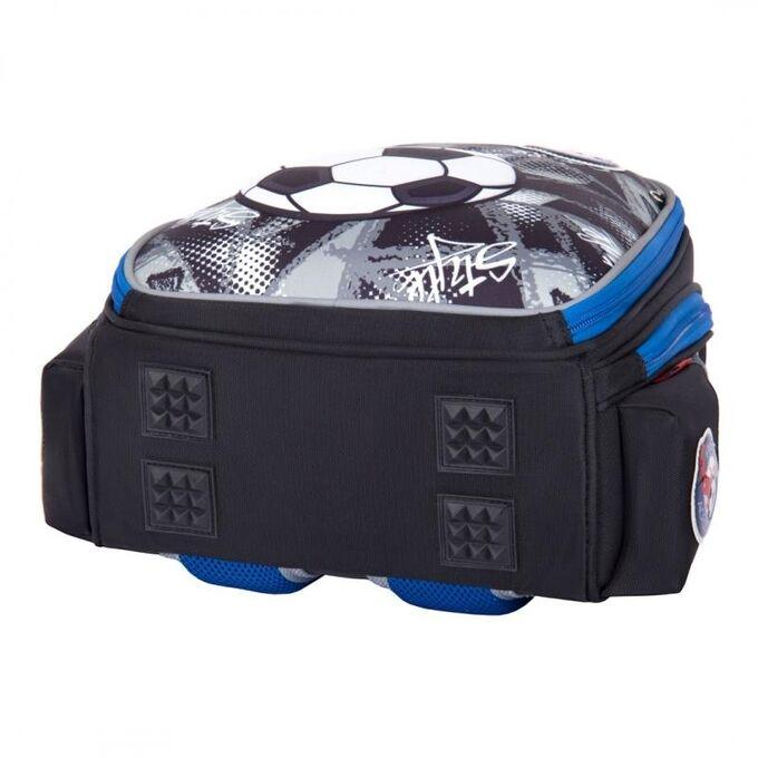 Ранец Ранец имеет два вместительных отделения, множество внутренних и внешних карманов .  Ранец оснащен ортопедической жесткой спинкой.  Облегченный каркас, разработанный по специальной технологии, не