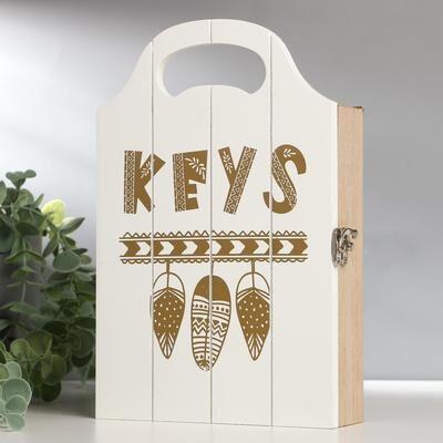 "Ключница дерево 4 крючка ""Пёрышки"" белая с золотом 25x16x5 см"