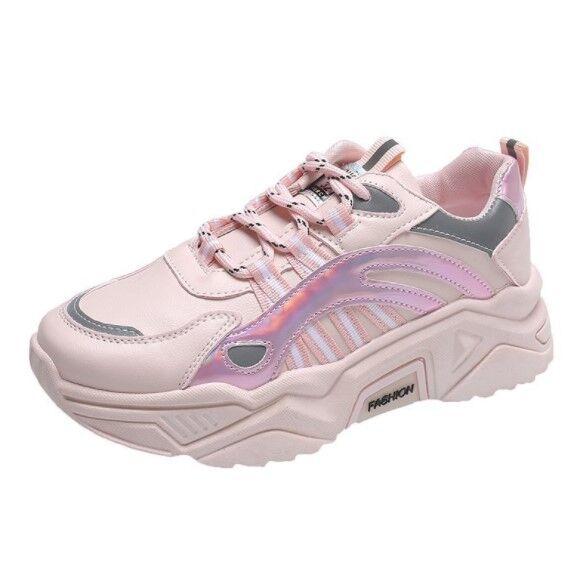 Женские кожаные кроссовки, цвет розовый, голографические вставки