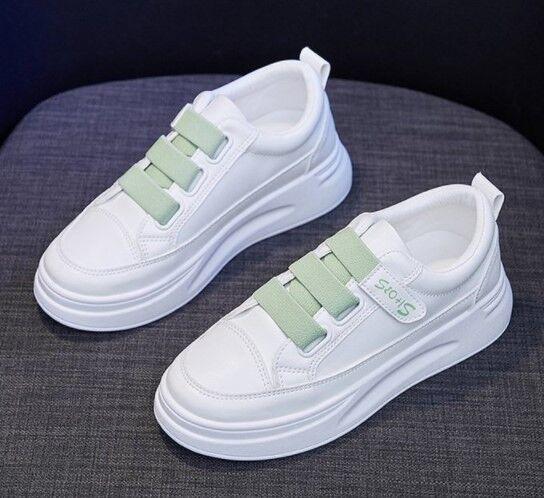 Женские кроссовки, цвет белый/зеленый, на липучке