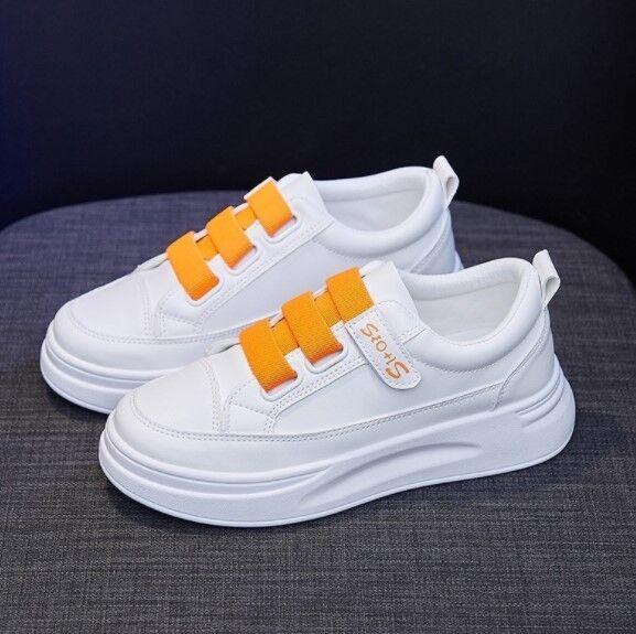 Женские кроссовки, цвет белый/оранжевый, на липучке