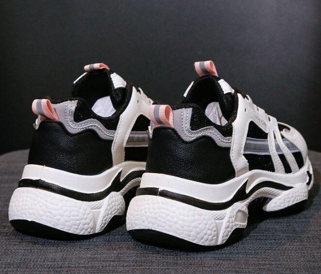 Женские кроссовки, цвет белый/черный, розовый вставки