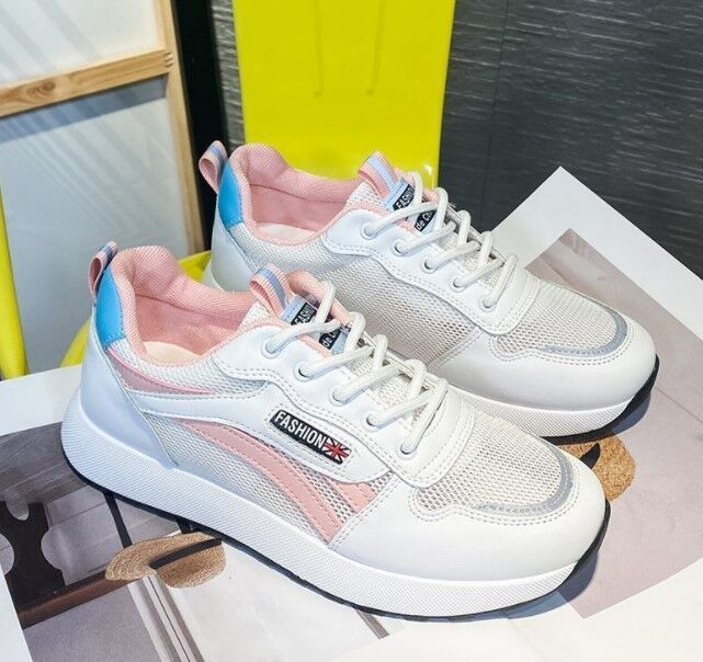 Женские кроссовки, цвет белый/розовый/синий