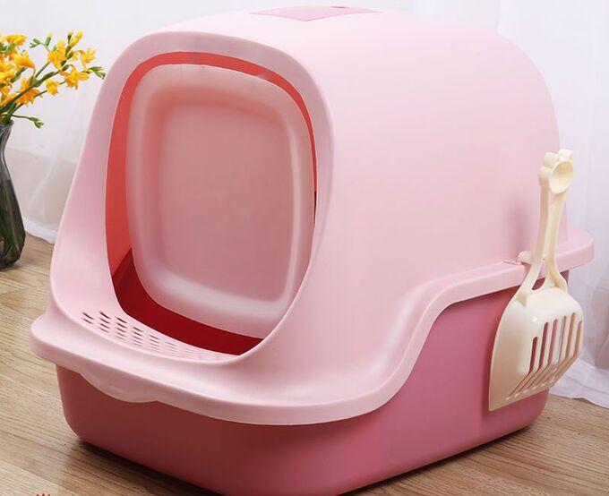 Туалет-домик для кошек, цвет розовый