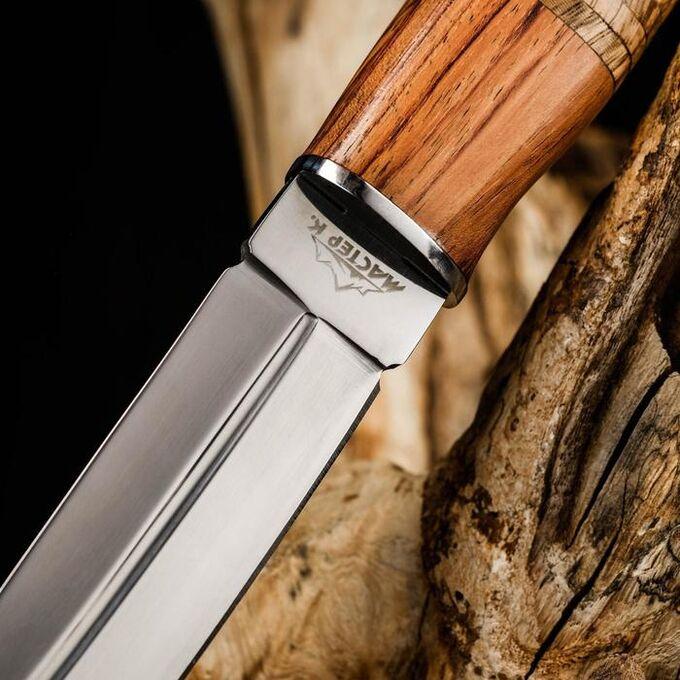 Нож охотничий, Мастер К, лезвие 14 см, в чехле, деревянная рукоять с пробковой вставкой