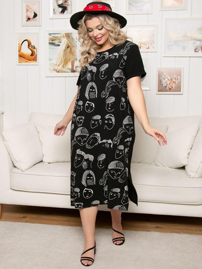 """Платье Платье свободного силуэта в стиледлиной миди вискозной ткани. - две расцветки принт """"лица"""" и однотонная расцветка - круглая горловина с бейкой - рукава втачные, короткие - в боковых швах внутр"""