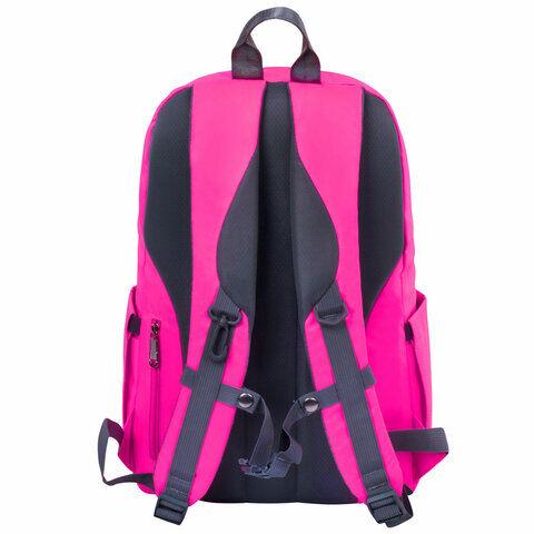 Рюкзак BRAUBERG LIGHT молодежный, с отделением для ноутбука, нагрудный ремешок, фуксия, 47х31х13 см, 270297