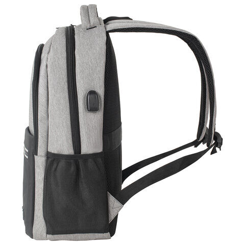 Рюкзак BRAUBERG URBAN универсальный, с отделением для ноутбука, USB-порт, Detroit, серый, 46х30х16 см, 229894