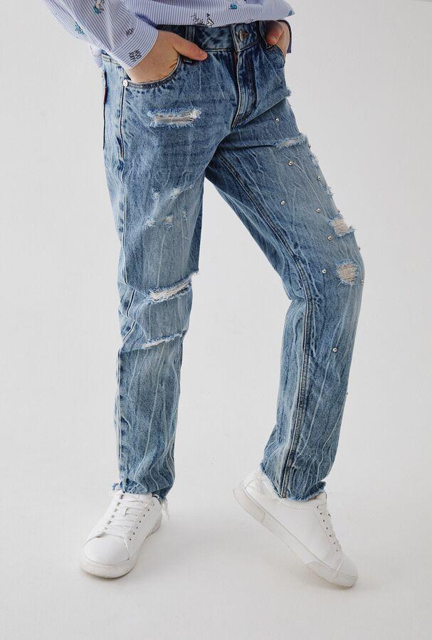 Брюки джинсовые детские для девочек Reinir голубой