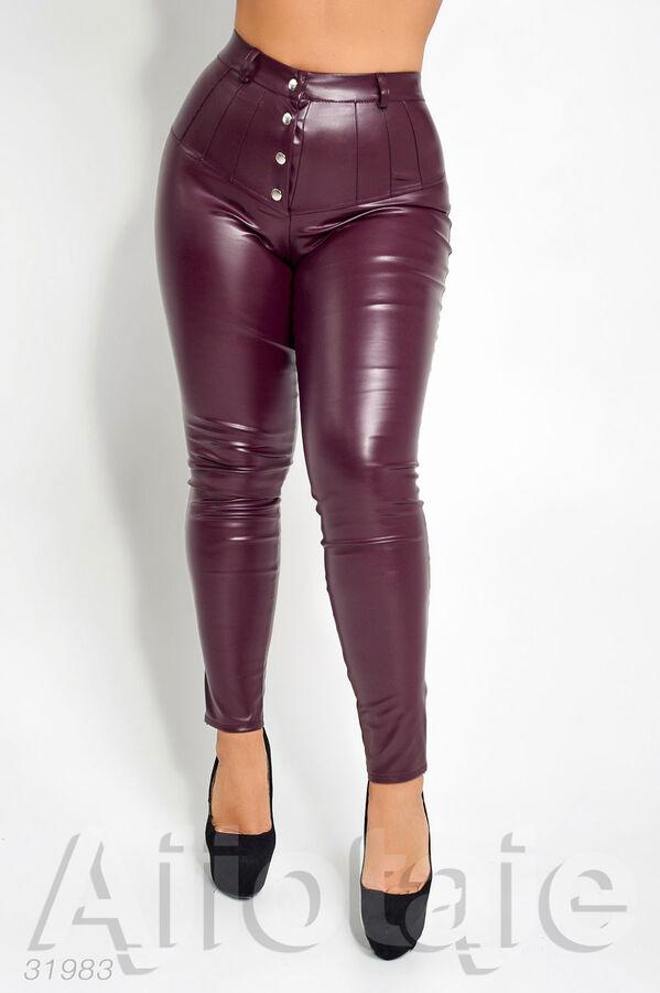 Женские кожаные брюки на кнопках