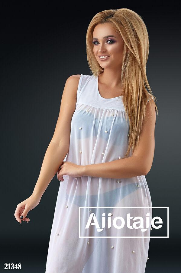 Пляжное платье, украшенное жемчугом