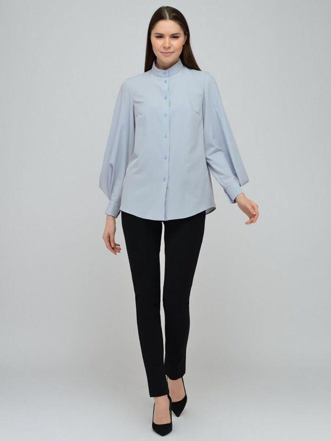 Блуза серая с объемными рукавами и декоративной складкой