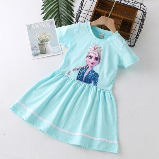 """Детское платье, принт """"принцессы"""", цвет морской волны"""