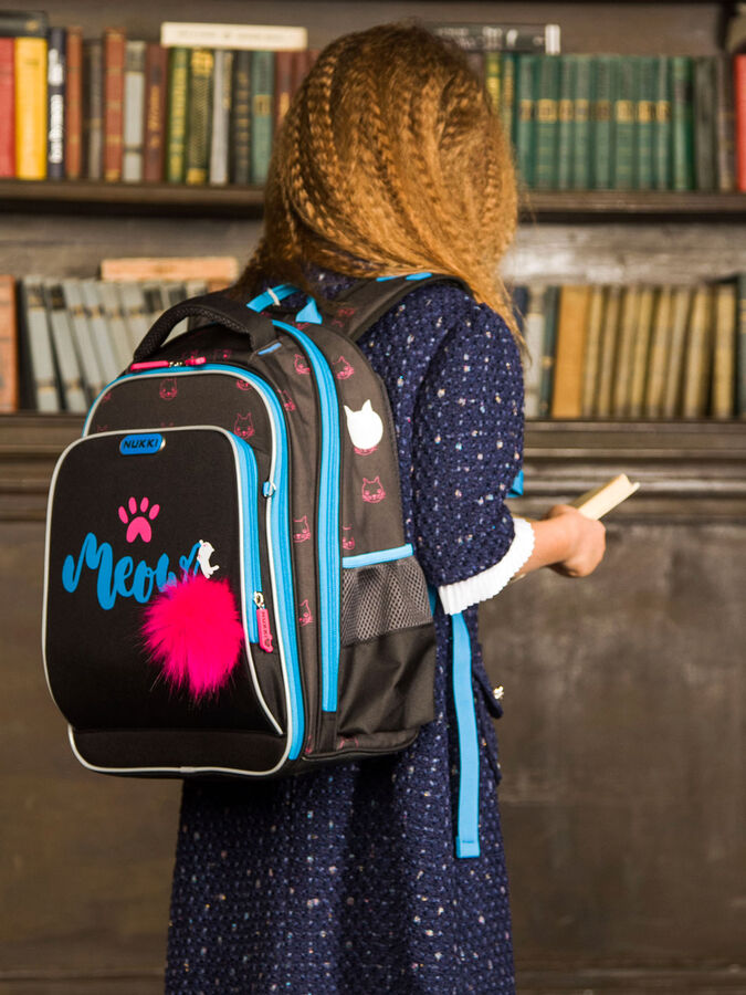 Школьный ранец NUK21-G7001-02 глубокий черный; ярко-синий девочки